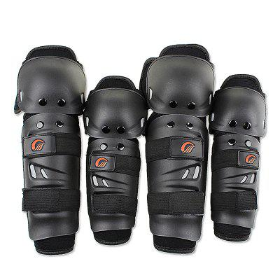 Riding Tribe Motorcycle Riding Knee Pads Motocross Racing Protective Gears Hands and Leg Guards - BLACK
