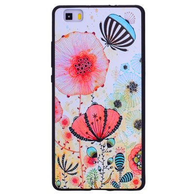 Pink flower For Huawei P8 lite Fashion Cartoon Relief Soft Silicone TPU Phone Case For Huawei P8 lite Cover Cases