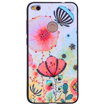 Pink Flower Phone Case for Huawei P8 Lite 2017 Fashion Cartoon Relief Soft Silicone TPU Cover Cases Protection