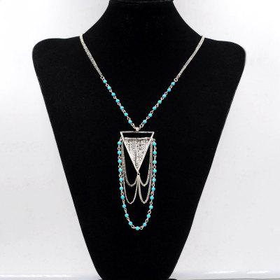 Bohemian Necklace Turquoise Ball Link Chain Multi Tiered Triangle Geometric Necklaces Pendants for Women Gifts