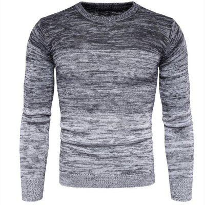 Men's Going out Casual Daily Holiday Simple Regular Pullover Color Block Round Neck Long Sleeves Wool Sweater
