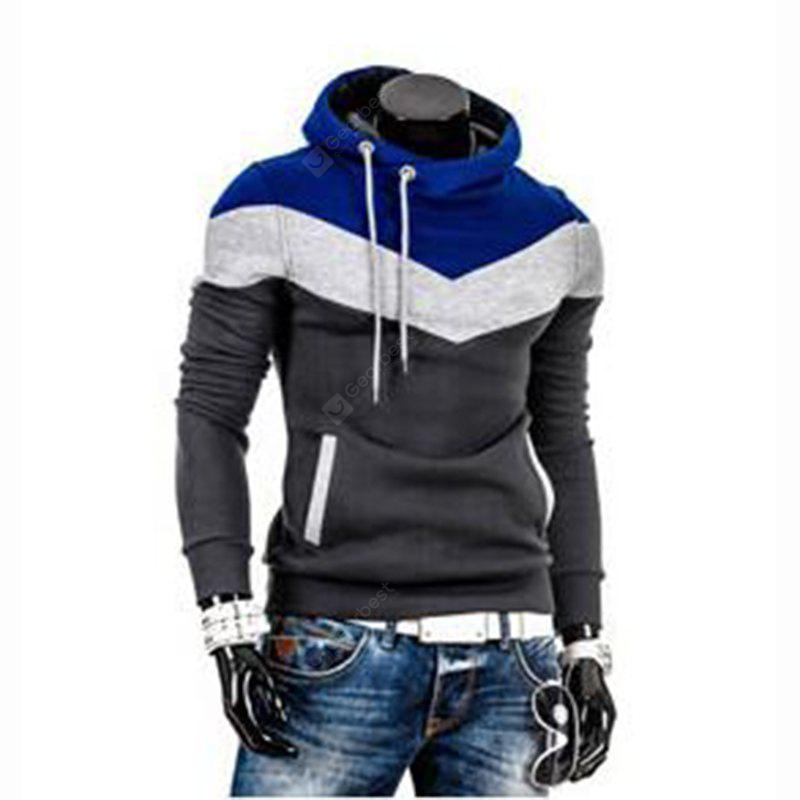 CADETBLUE M Men's Plus Size Color Block Sport Casual Hoodie