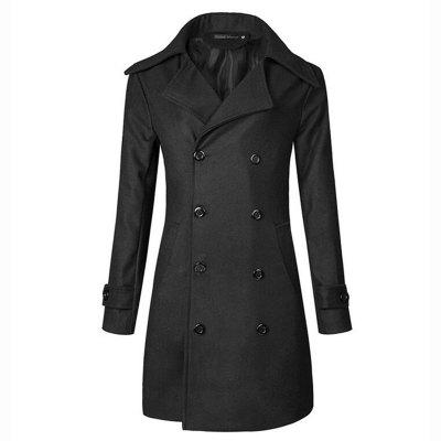 Solid Notch revers à manches longues Long Polyester Hommes Casual Quotidien simple Trench-Coat