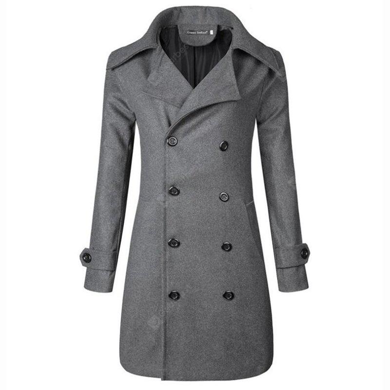 Solid Notch Lapel Long Sleeve Long Polyester Men's Casual Daily Simple Fall Trench Coat