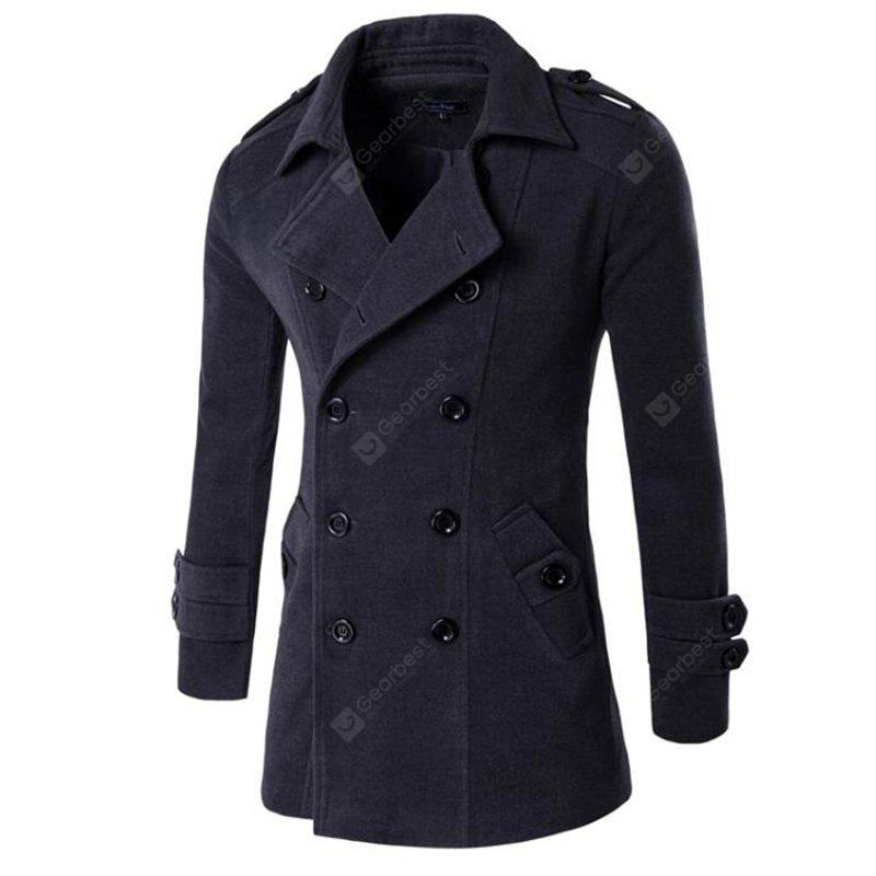 Men's Holiday Going Out Bohemian Style Travel Fall Winter Trench Coat Solid Stand Long Sleeve Regular Cotton