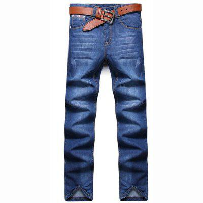 Men's High Rise Inelastic Jeans Pants Simple Jeans Solid