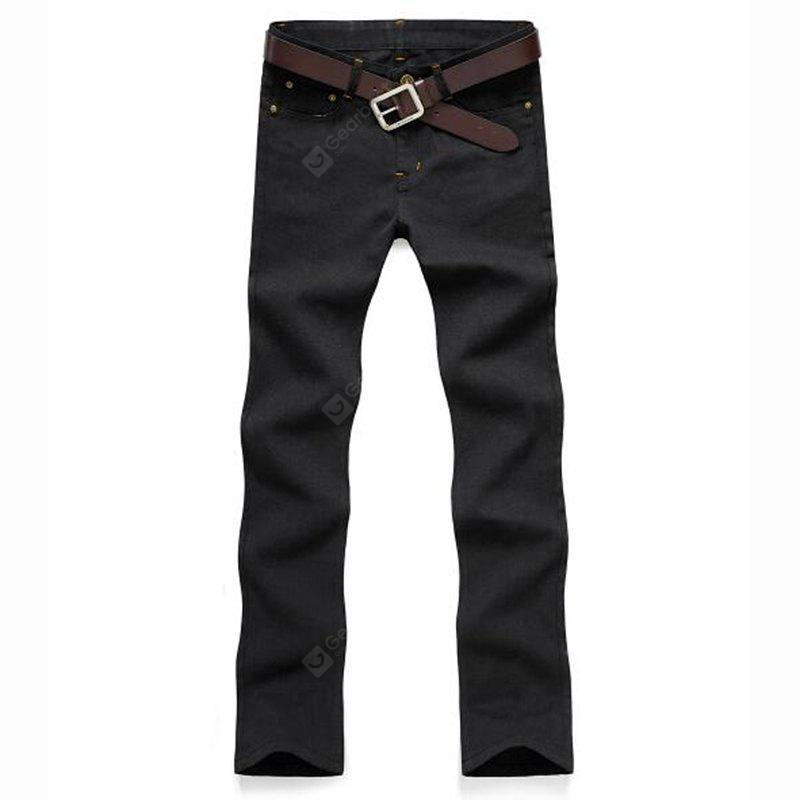 Men's Mid Rise Micro Elastic Jeans Chinos Pants Simple Jeans Chinos Solid