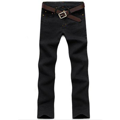 Men's Mid Rise Micro Elastic Jeans Pants Chinoiserie Simple Straight Solid