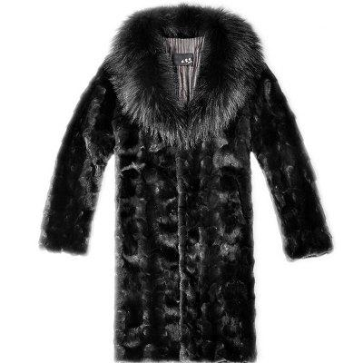 Men's Plus Size Casual Daily Simple Fall Winter Fur Coat Solid Shirt Collar Long Sleeve Long Faux Fur