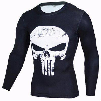 Buy BLACK S Men's CasualDaily Street chic T-shirt Print Round Neck Long Sleeves Polyester for $23.12 in GearBest store
