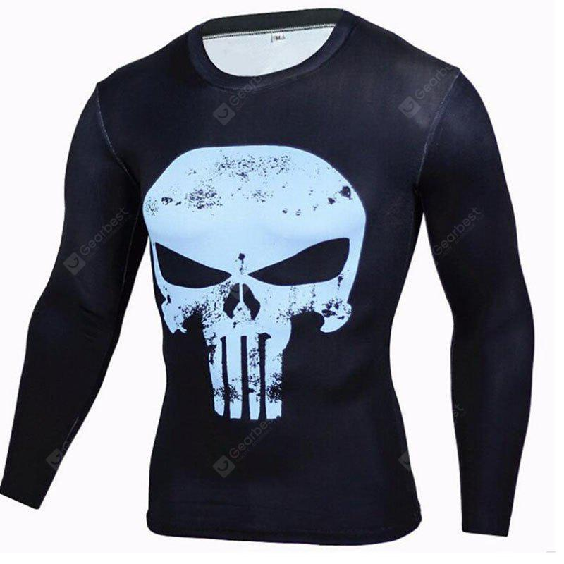 BLUE M Men's CasualDaily Street chic T-shirt Print Round Neck Long Sleeves Polyester