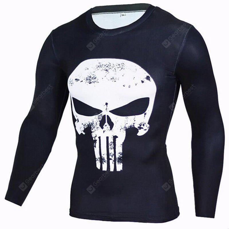 BLACK L Men's CasualDaily Street chic T-shirt Print Round Neck Long Sleeves Polyester