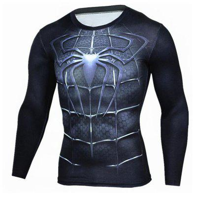 Buy BLACK L Men's Going out Formal Simple Active Spring Fall T-shirt Print Round Neck Long Sleeve Blue Cotton Medium for $23.12 in GearBest store