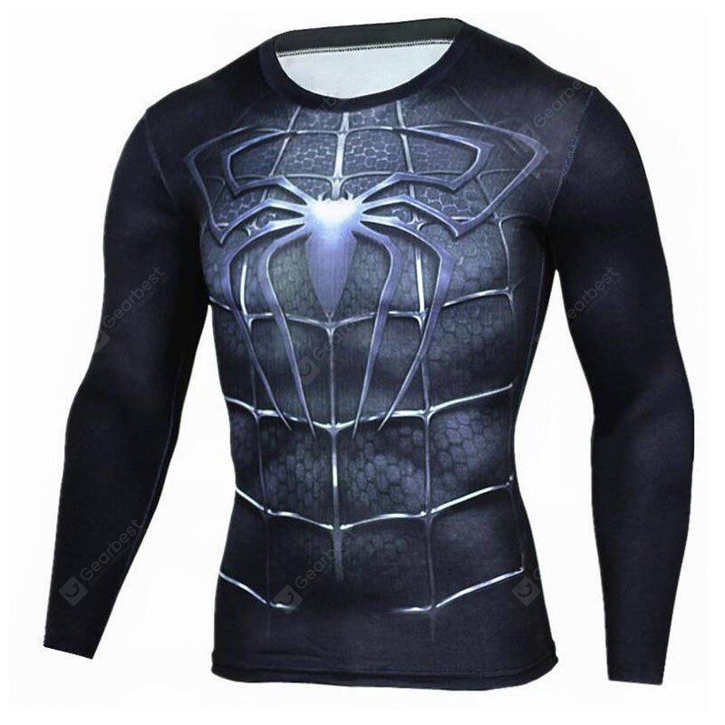 BLACK M Men's Going out Formal Simple Active Spring Fall T-shirt Print Round Neck Long Sleeve Blue Cotton Medium