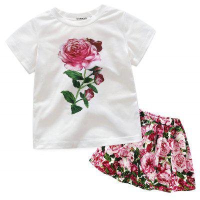 Summer Girl Short-sleeved Floral T-shirt Half Skirt Suit