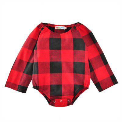 SOSOCOER Newborn Infant Girls Bodysuits The Red and Black Plaid Printed Baby Romper