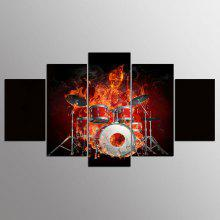 YSDAFEN 5 Piece Wall Canvas Flame Skull Drums Fire Combine Wall Art Decor