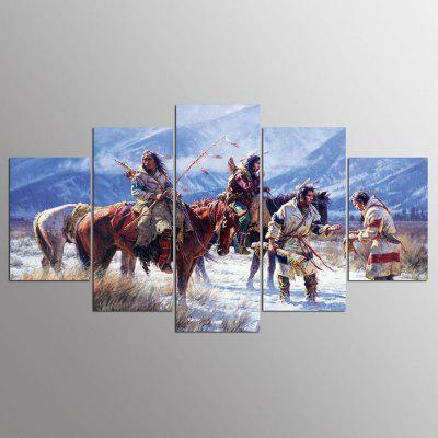 YSDAFEN 5 Pieces Native American Indian Snow Mountain Modern Home Wall Decor Canvas Picture