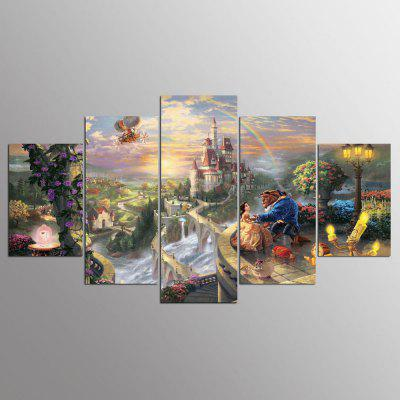 Ysdafen 5 Panels Beauty And The Beast Movie Wall Art