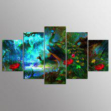 YSDAFEN5 Panel Modern Hd Elegant Peacock Canvas Art for Living Room Wall Picture