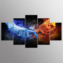 YSDAFEN 5 Panel HD Canvas Art Love Hand Flame Canvas Print Room Decor