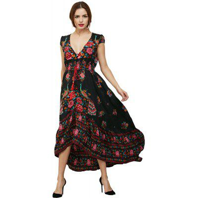 Buy RED L 2017 Women Summer Etehnic Sexy Floral Sundress V Neck Vintage Boho Long Maxi Floral Party Beach Chiffon Dress for $25.77 in GearBest store