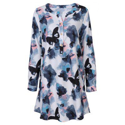 2017 Autumn New Style White Butterfly Flower Long Sleeve Blouse  Women Chiffon Blouse Floral Print Long T-Shirts