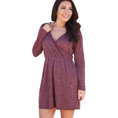 Women's Sexy V-Neck Solid Color Waist Long-Sleeved Dress