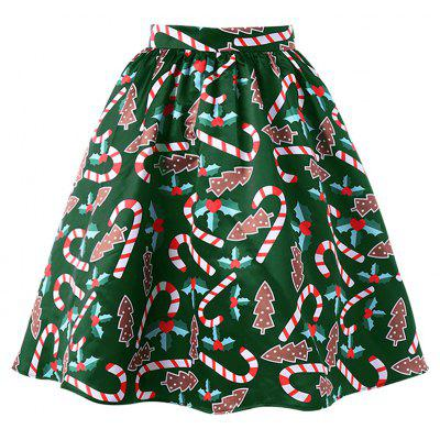 Women's Fashionable Christmas Printing Crutch Skirt
