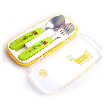 baby stainless steel anti-scalding spoons two-piece