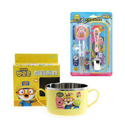 half stainless steel learning chopsticks spoon with a soft pack plus bowl combination