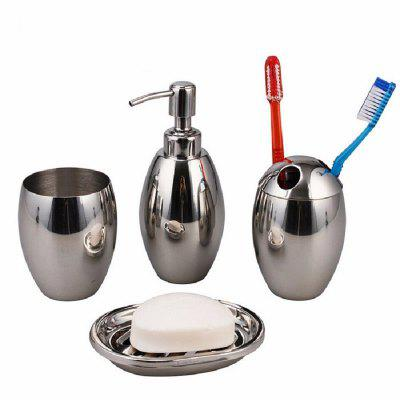 Polished Stainless Steel Refillable Splendid Bathroom Accessory Set Oval