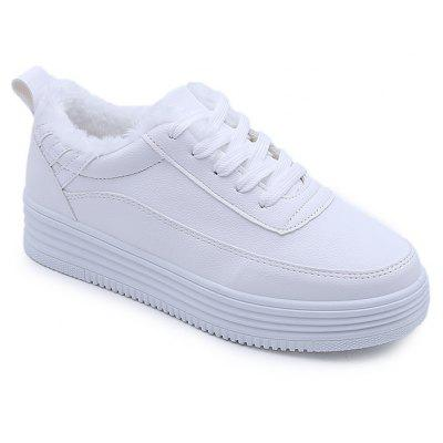 White Shoes with The New Students All-Match Winter Cashmere Thick Bottom Flat Shoes Casual Shoes Muffin
