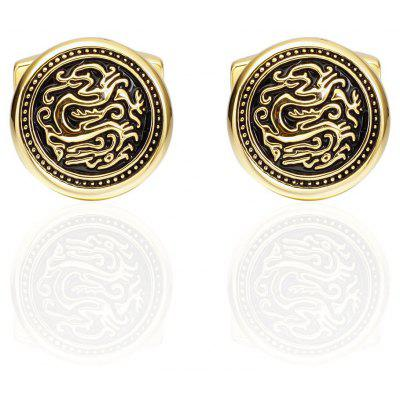 Fashion Gold Dragon Round Cufflinks French Long Sleeved Shirt Cuff Nails
