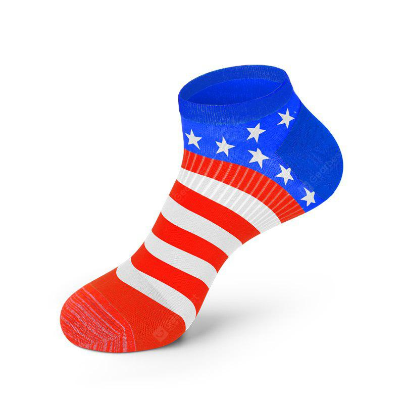 COLORMIX Men America Flag Style Cotton Sock Fashion Anti Bacterial and Anti-odor Solid Color Socks