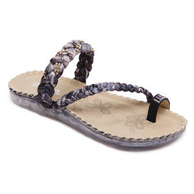 Ladies Rubber Sole Water Drill Clip Toe Foreign Trade Large Beach Sandals