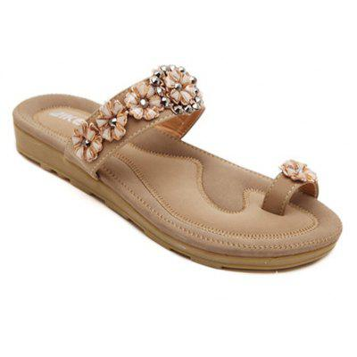 Ladies Rubber Sole Water Drill String Beads and Foot Sandals