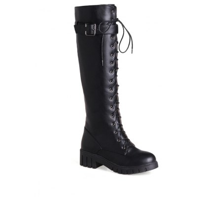 Miss Shoes Bb17-3 Thick and Round Head Wear The Long Boots