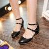 Miss Shoe C-10 Round Head Thick Heel Fashion Single Shoe - BLACK