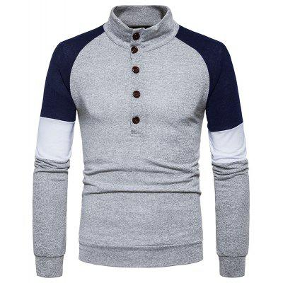 New Men'S Fashion Color Button Collar Long Sleeved Knit Sweater MJ40