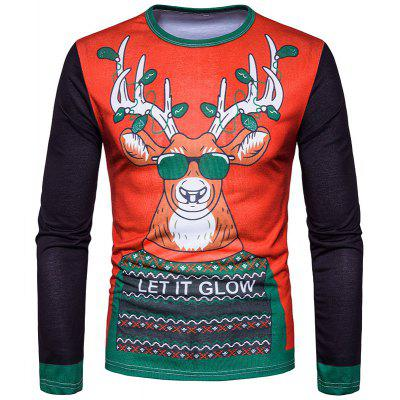 Men'S Personality Christmas Milu 3D Printed Round Collar Long Sleeved T-Shirt CT362
