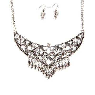 New Retro National Wind Sweater Chain Leaves Tassel Earrings Necklace Jewelry Set
