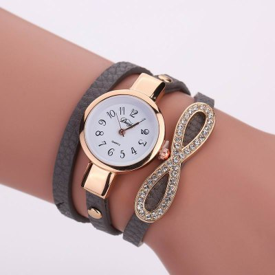 DUOYA D123 Women Girls Wrap Around pulsera de cuero reloj de pulsera