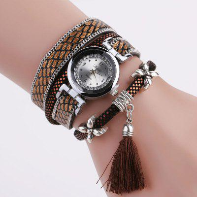 DUOYA D066 Women Wrap Around Tassel Bracelet Wrist Watch