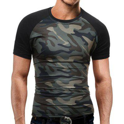 Buy CAMOUFLAGE L Men's Casual Daily Simple T-shirt Print Round Neck Short Sleeves Cotton for $19.14 in GearBest store