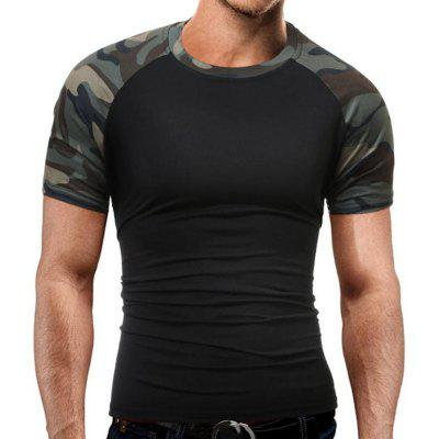 Buy BLACK L Men's Casual Daily Simple T-shirt Print Round Neck Short Sleeves Cotton for $19.14 in GearBest store