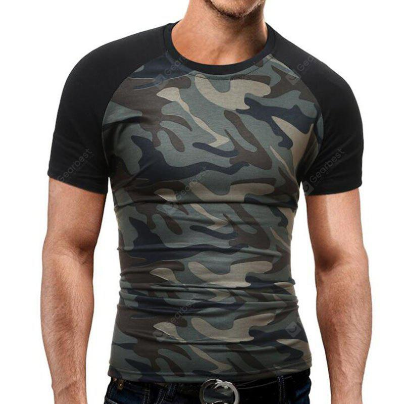 CAMOUFLAGE 3XL Men's Casual Daily Simple T-shirt Print Round Neck Short Sleeves Cotton