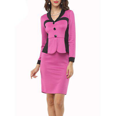 Elegant Woman Patchwork Work  Button Collar Long Sleeve  Sheath Bodycon Fake Two Pieces Dresses