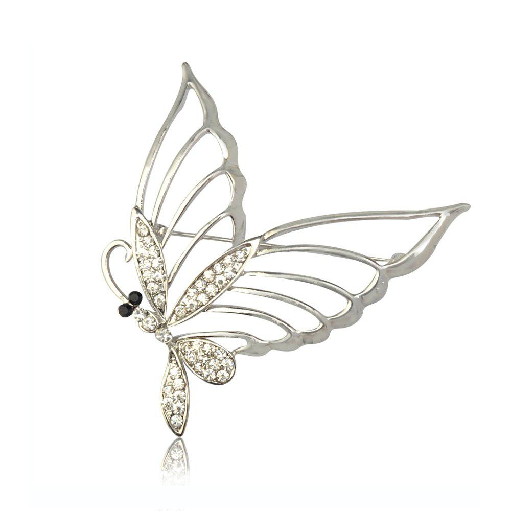 Fashionable Rhinestone Butterfly Brooch Pin