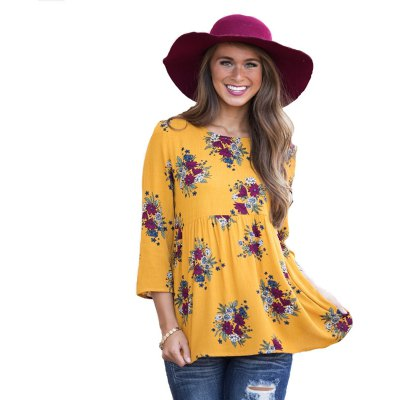 Printed Round Neck with Seven Sleeve T Shirt